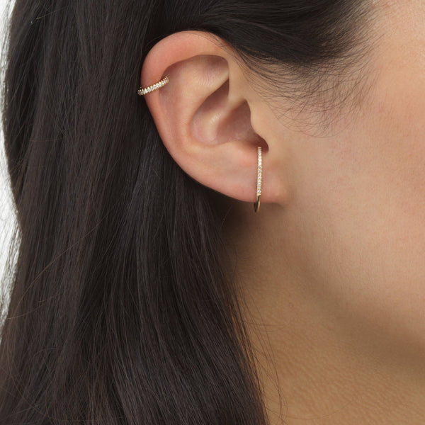 Diamond Hook Stud & Ear Cuff Combo Set 14K