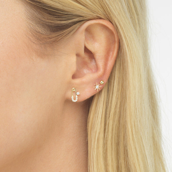 Safety Pin & Starburst Stud Earring Combo Set