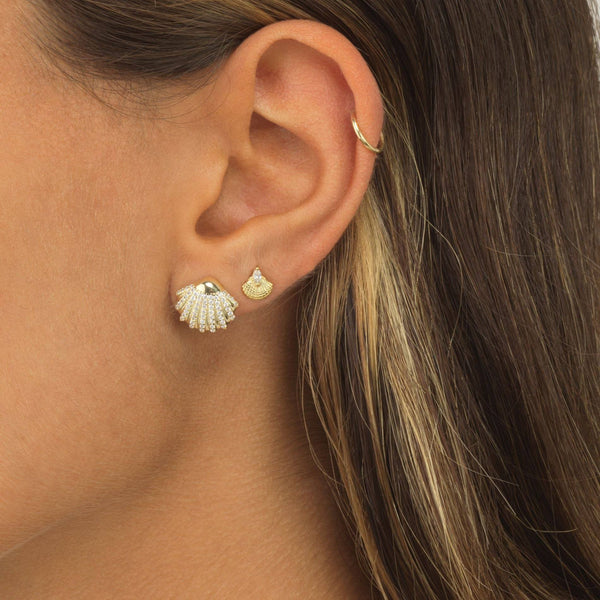 Mini CZ Shell Stud Earring