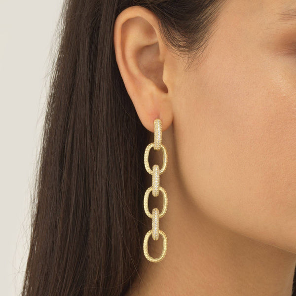 Pavé Large Chain Drop Stud Earring