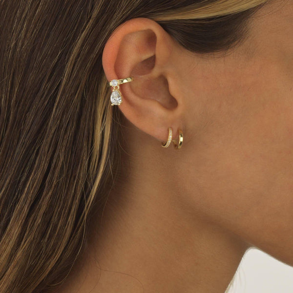 Double Row Solid / Pavé Huggie Earring