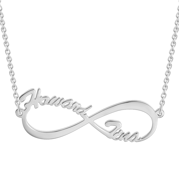 Personalized Infinity Two Name Necklace In Sliver
