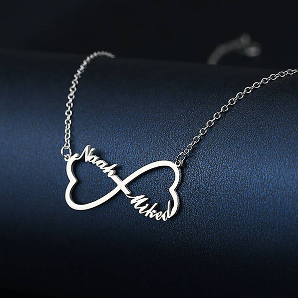 Heart Infinity Name Necklace Platinum Plated Sliver