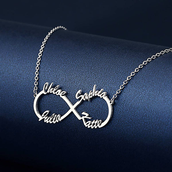 Infinity Four Name Necklace Silver