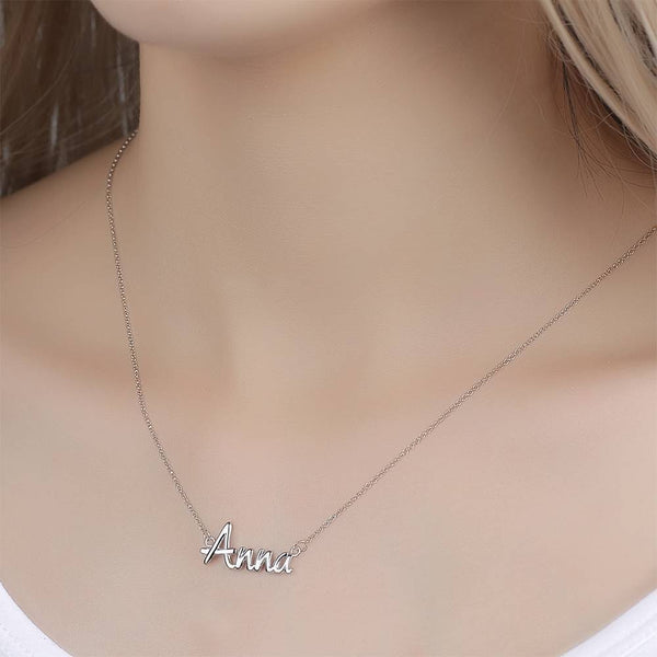 Personalized Name Necklace Best Friend Gift Silver