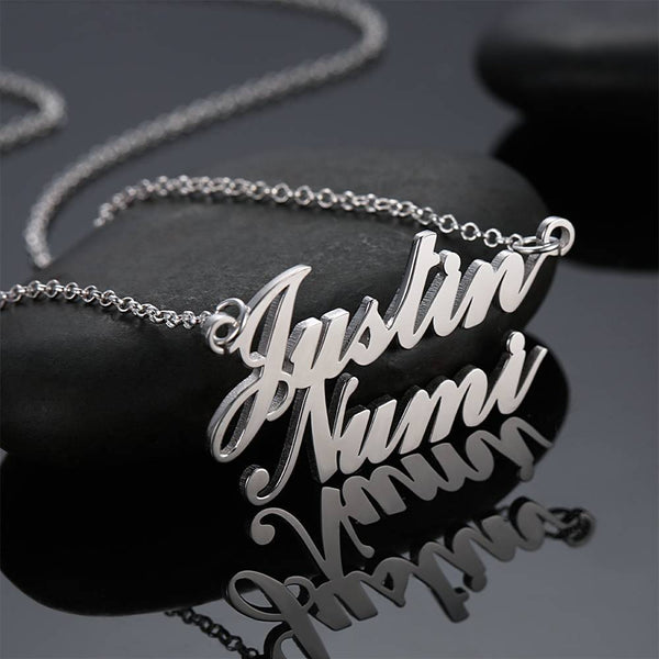 Couples Gift Personality Name Necklace Two Names Classic Style Silver
