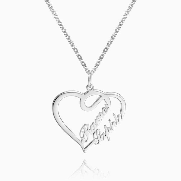 Overlapping Heart Two Name Necklace Silver