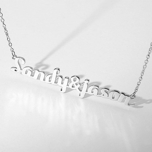Couple Name Necklace Silver