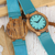 To My Boyfriend - Sky Blue Leather Wooden Watch