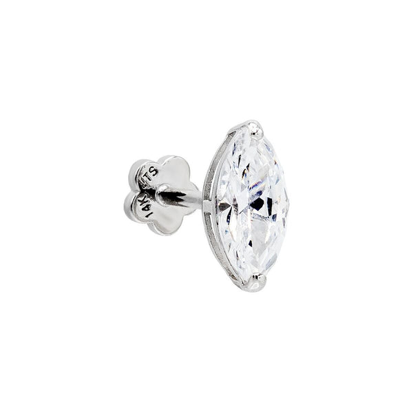 Marquise Stone Threaded Stud Earring 14K