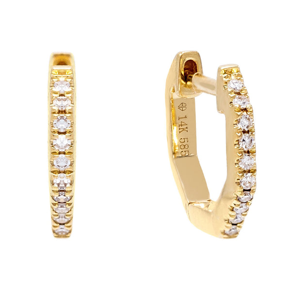 Diamond Octagon Huggie Earring 14K