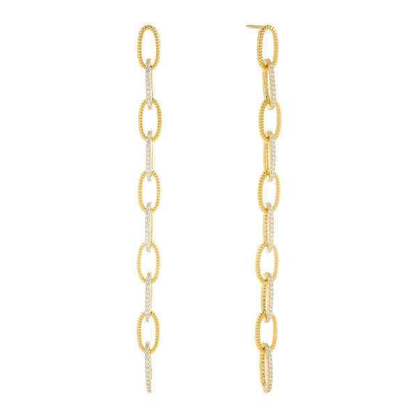 Pavé/Beaded Oval Link Drop Stud Earring