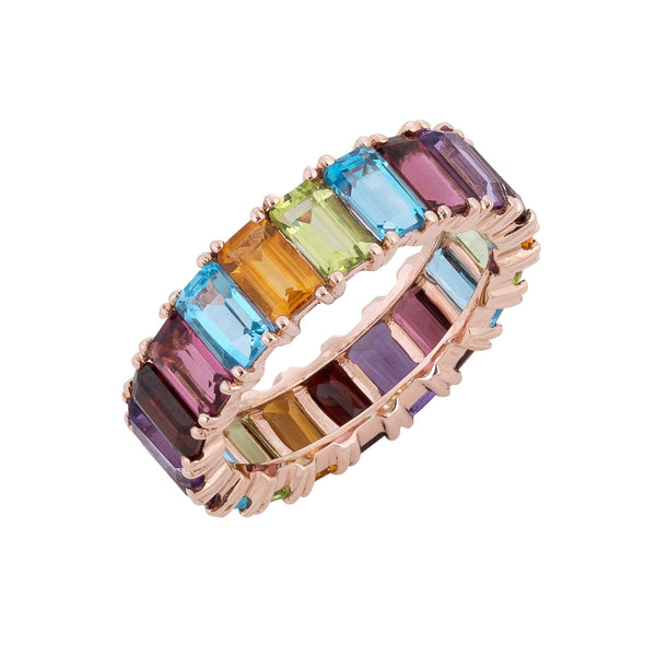Rainbow Eternity Ring 14K