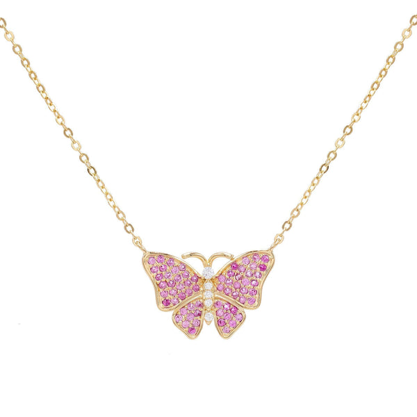 CZ Pink Butterfly Necklace