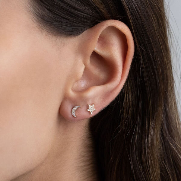 Diamond Celestial Mismatch Stud Earring 14K