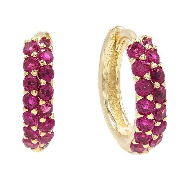 Colored Wide Pavé Huggie Earring