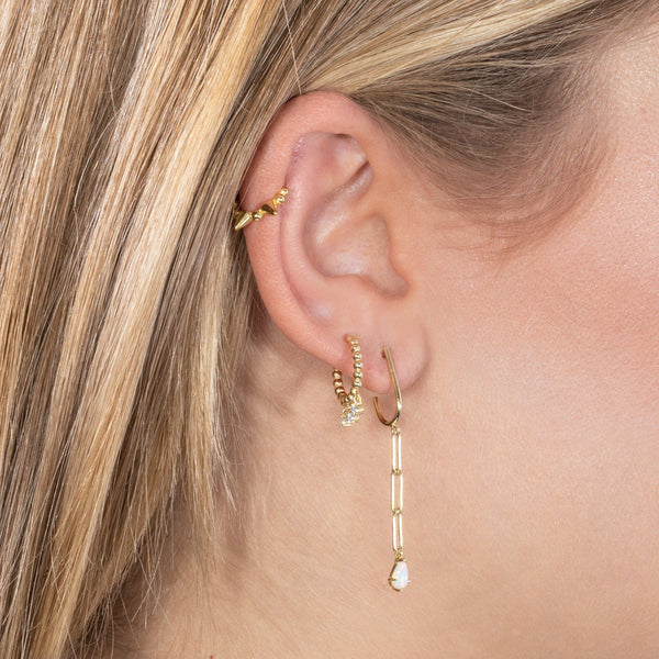 Dangling CZ Beaded Huggie Earring