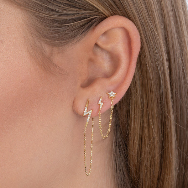 Pavé Lightning Bolt Chain Earring