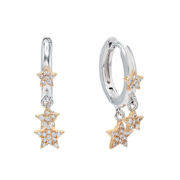Triple Star Two-Tone Huggie Earring
