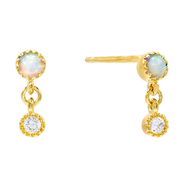 Opal Drop Stud Earring