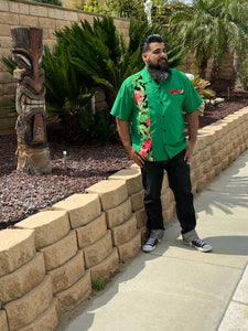 Don Muerto Bowling Shirt in Green with Tropical Leaves