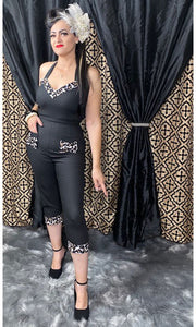 Lady De Jumpsuit in Back with Leopard Accents