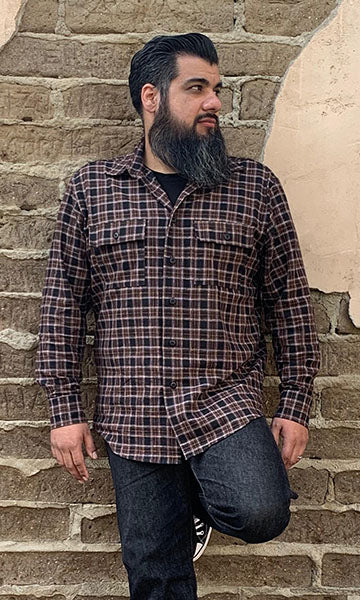 Don Muerto Long Sleeve Chevelle Shirt in Brown & Black Flannel