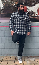 Load image into Gallery viewer, Don Muerto Long Sleeve Chevelle Shirt in Gray & Black Flannel