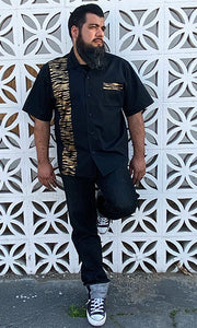 Don Muerto Bowling Shirt in Black with Golden Tiger Print