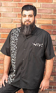 Don Muerto Bowling Shirt in Black with Leopard Print