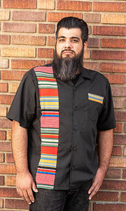 Don Muerto Bowling Shirt in Black with Serape Print