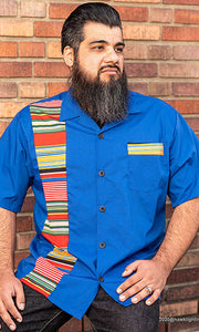 Don Muerto Bowling Shirt in Blue with Serape Print