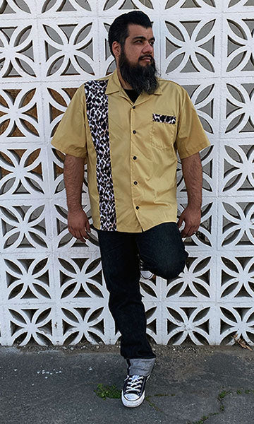 Don Muerto Bowling Shirt in Tan with Leopard Print