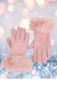 Pink Faux Suede Gloves With Faux Fur