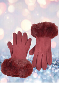 Burgundy Faux Suede Gloves With Faux Fur