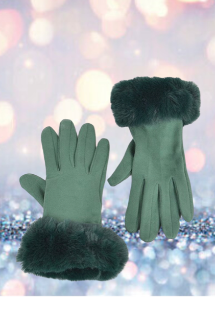 Green Faux Suede Gloves With Faux Fur