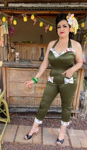 Lady De Jumpsuit in Green with Tiki Bird Print