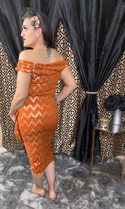 Valentina Dress - Tangerine with Metallic Gold