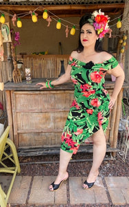 Valentina Dress - Tropical Leaves