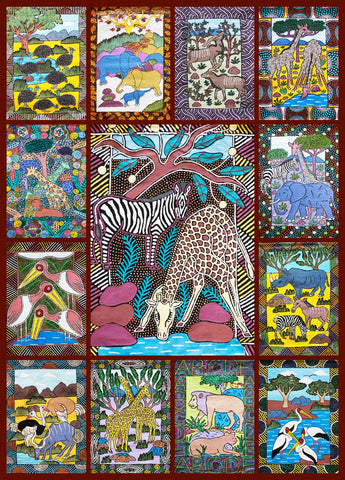 African Animals 1000 Piece Jigsaw Puzzle - Hennessy Puzzles - 1