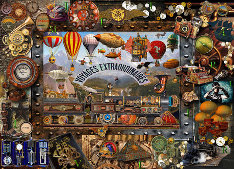 Steampunk collage vintage balloons Victorian jigsaw puzzle