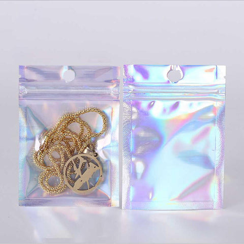 Clear Front and Holographic Storage Bag for Bedroom Organization