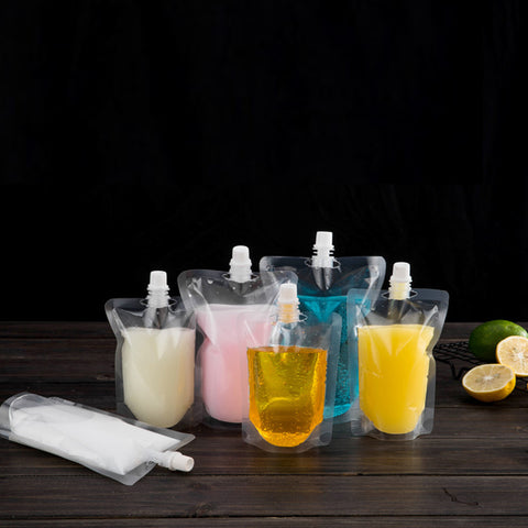 Clear Bottle Pouches with Screw Cap