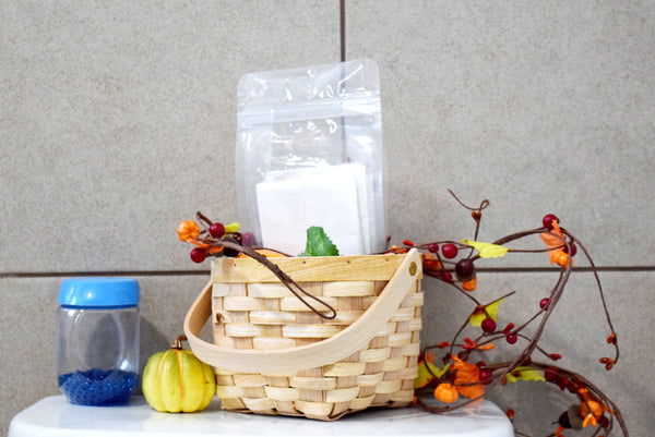 Decorative Baskets with Clear Plastic Storage Bags for Bathroom Organization