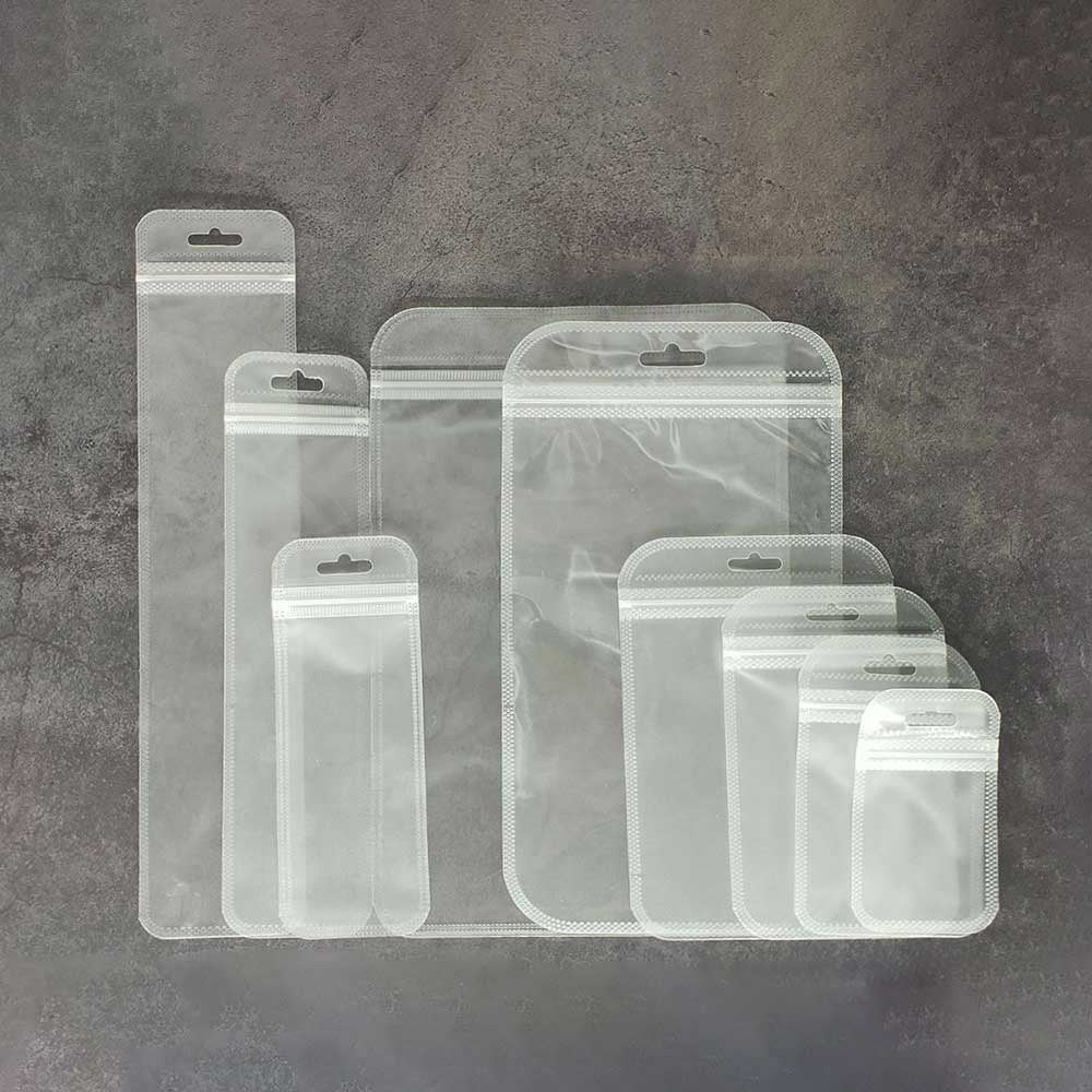 QQ Studio® Single-Sided Transparent and Translucent Back Plastic Flat QuickQlick™ Bags with Rounded Corners and Butterfly Hang Hole