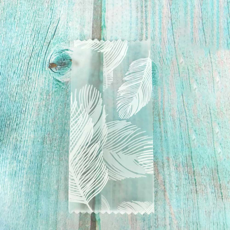 QQ Studio® Frosty Pelican Translucent White Feathers and Leaves Design Fin Seal Open Top Bag