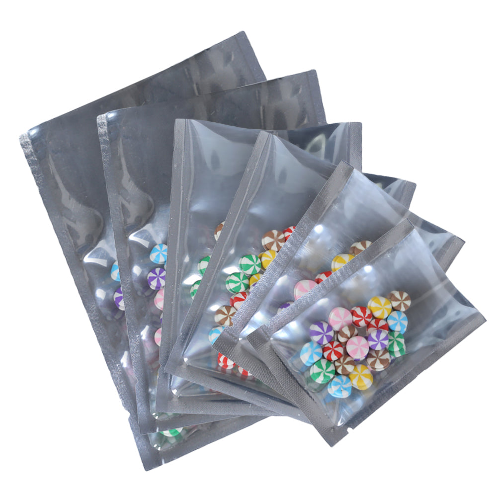 QQ Studio® Clear Plastic and Chrome Silver Metallic Mylar Flat Open Top Bags