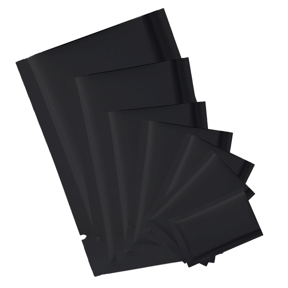 QQ Studio® Matte Waxed Black Mylar Foil Open Fill Bags