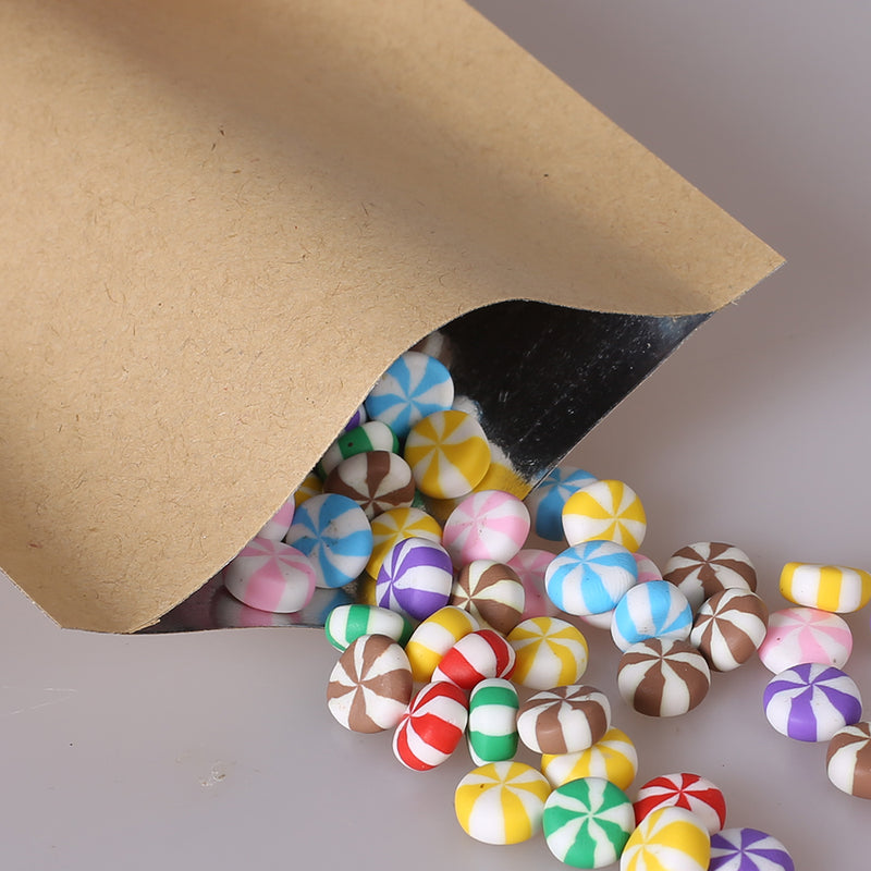 QQ Studio® Natural Peanut Brown Kraft Mylar Foil Open Top Bags