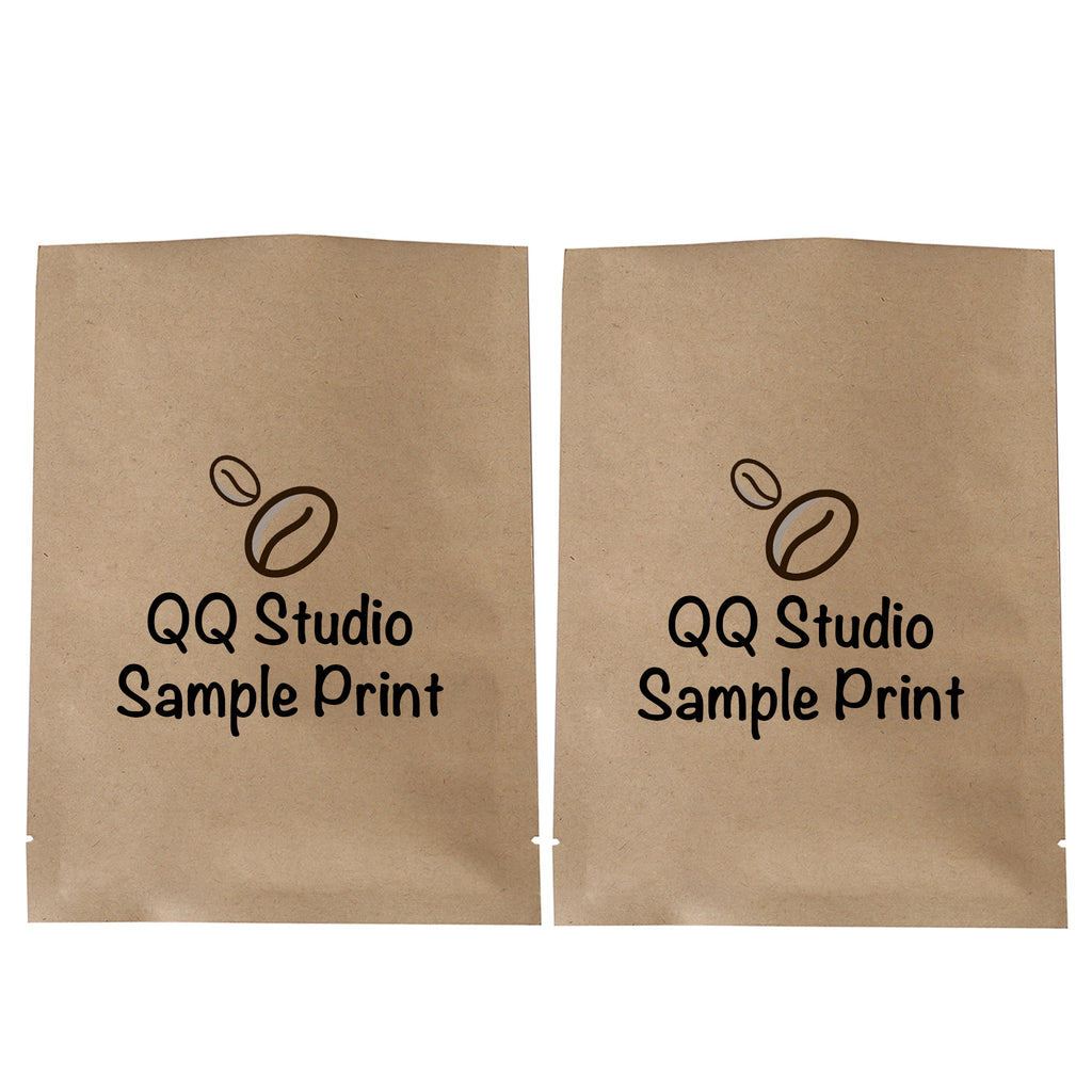 QQ Studio® Natural Kraft Mylar Foil Open Top Bags (Double Side Print)